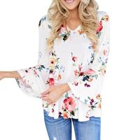 2018 Clothing Women S Blouse Floral Print V Neck Long Sleeve Casual Tops Female Elegent Loose