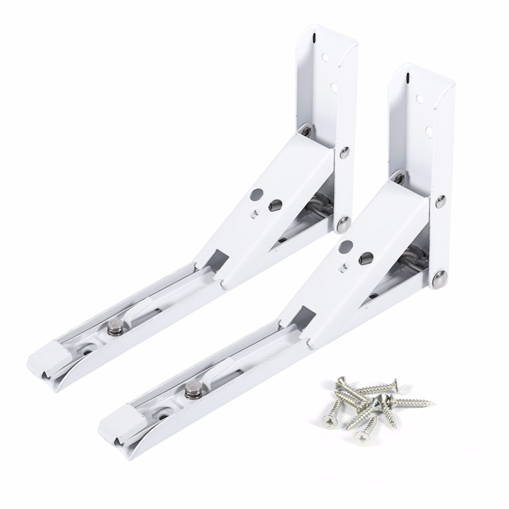 2pcs/set 8inch White Length Steel Triangle Folding Shelf Bracket Wall Mounted Self Support Metal Angle Bracket with 8 Screws