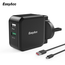 EasyAcc Quick Charge 3.0 30W Wall Charger 2-Port Smart Adapter Travel Changer for Samsung Galaxy S6 7 Huawei LG Xiaomi Phone(China)