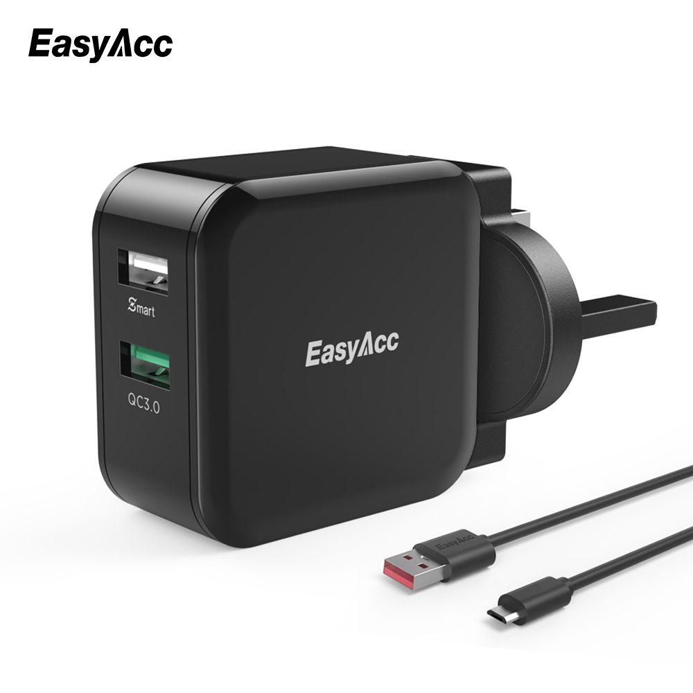EasyAcc Quick Charge 3.0 30W Wall Charger 2-Port Smart Adapter Travel Changer for Samsung Galaxy S6 7 Huawei LG Xiaomi Phone