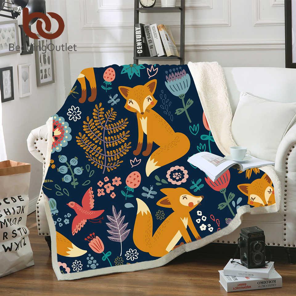 Постельные принадлежности выход Золотой лиса плед с искусственной меховой подкладкой животных звезды покрывало Пейсли листья цветок бархат плюшевая кровать одеяло 150x200