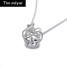Best Quality Crown Necklace Big Rhinestone Crystal Silver Coffee Gold Color Pendant Necklaces Chokers Necklace Jewelry For Women