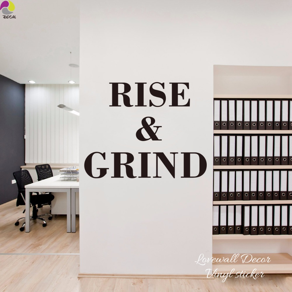 Rise & Grind Quote Wall Sticker Office Classroom Inspiration Motivation Quote Wall Decal School Office Bedroom Vinyl Decor Art