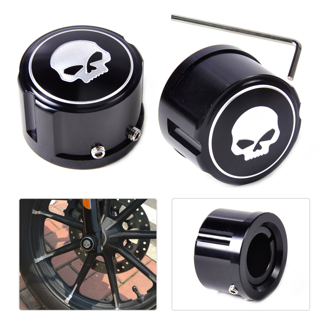 DWCX Motorcycle 2pcs Aluminum Front Skull Axle Nut Cover Cap Bolt Kit for Harley VRSC XG XL Softail Touring Trike model Dyna купить