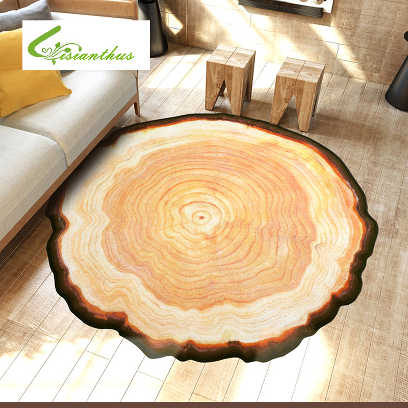 Antique wood tree annual ring round 3d carpet for bedroom for Rug in bedroom