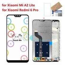 シャオ mi mi A2 Lite Lcd ディスプレイタッチスクリーン 10 点デジタイザアセンブリ赤 mi 6 プロテスト LCD ディスプレイの交換修理部品