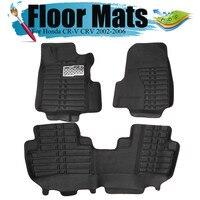 Negro impermeable coche esteras para piso Anti silp alfombra para Honda para CR V CRV 2002  2003  2004  2005  2006 accesorios de Interior de coche|Alfombras de piso| |  -