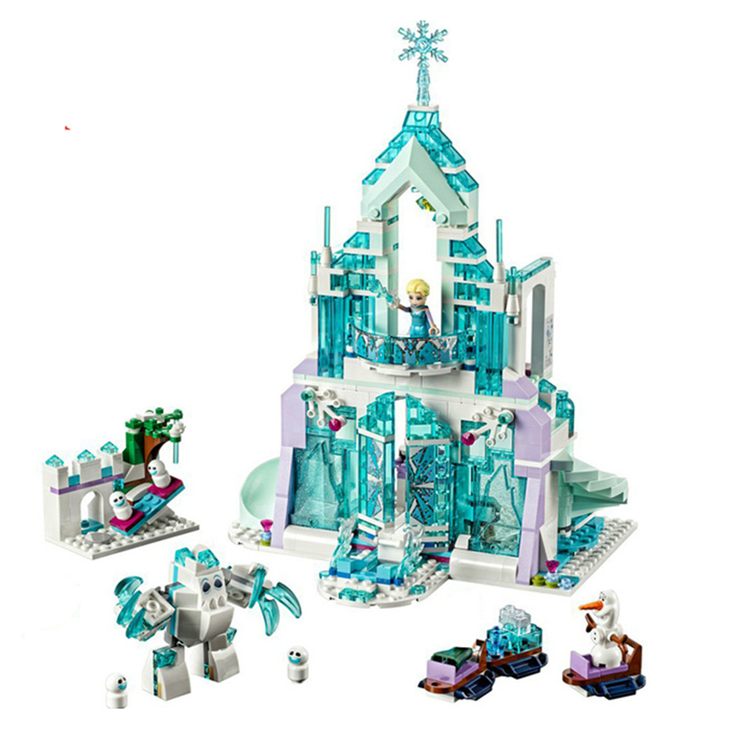 731pcs Snow World Series The Elsa`s Magical Ice Castle Set Girls Building Blocks Bricks Toys Girl Friend Compatible With 41148