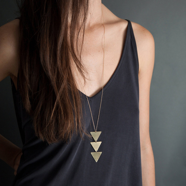 Gold Chain Choker triangle Long Necklace