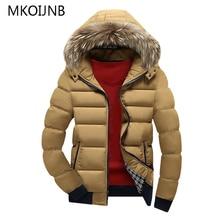 MKOIJNB 5 Color Fashion Brand Winter Men's Parkas Jacket With Fur Hood Hat Slim Men Outwear Coat Casual Thick Mens Jackets 4XL