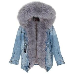 Image 2 - Maomaokong natural rabbit fur lined denim jacket fox fur coat coat fashion denim fox fur warm lady winter jacket women parka