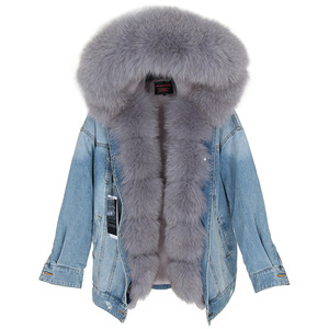 Image 2 - Maomaokong naturel lapin fourrure doublé denim veste renard fourrure manteau manteau mode denim renard fourrure chaude dame hiver veste femmes parka