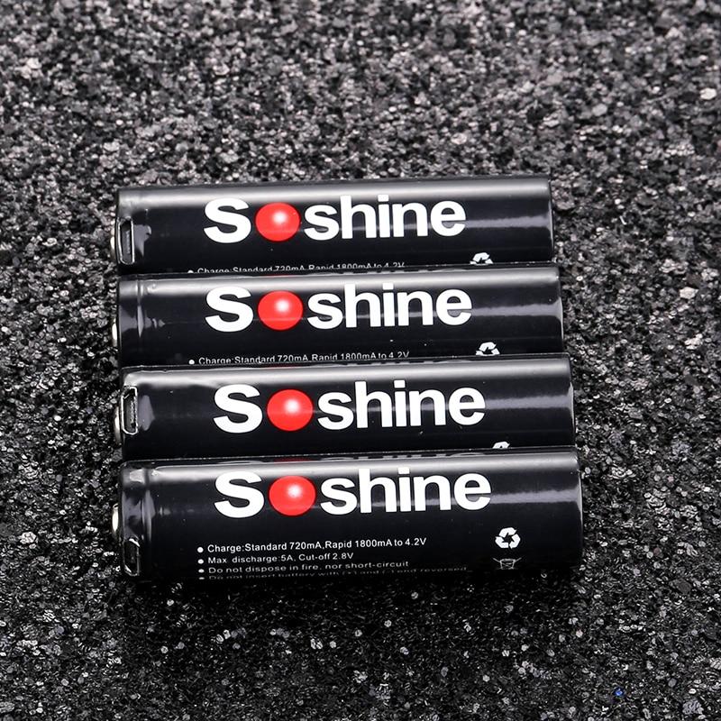4 個オリジナル soshine の 18650 充電式バッテリー大容量 3.7 3600 3.7v 3600mah 内蔵マイクロ USB 直接充電器ポート  グループ上の 家電製品 からの 充電池 の中 1