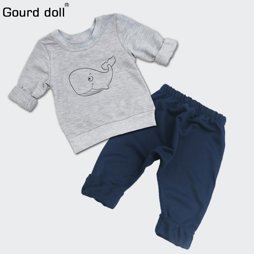 Autumn Fashion Baby Boys Girls Clothes Set Casual Cotton Long Sleeve Cartoon Blue Whale Romper Infant Toddler Clothing Outfits