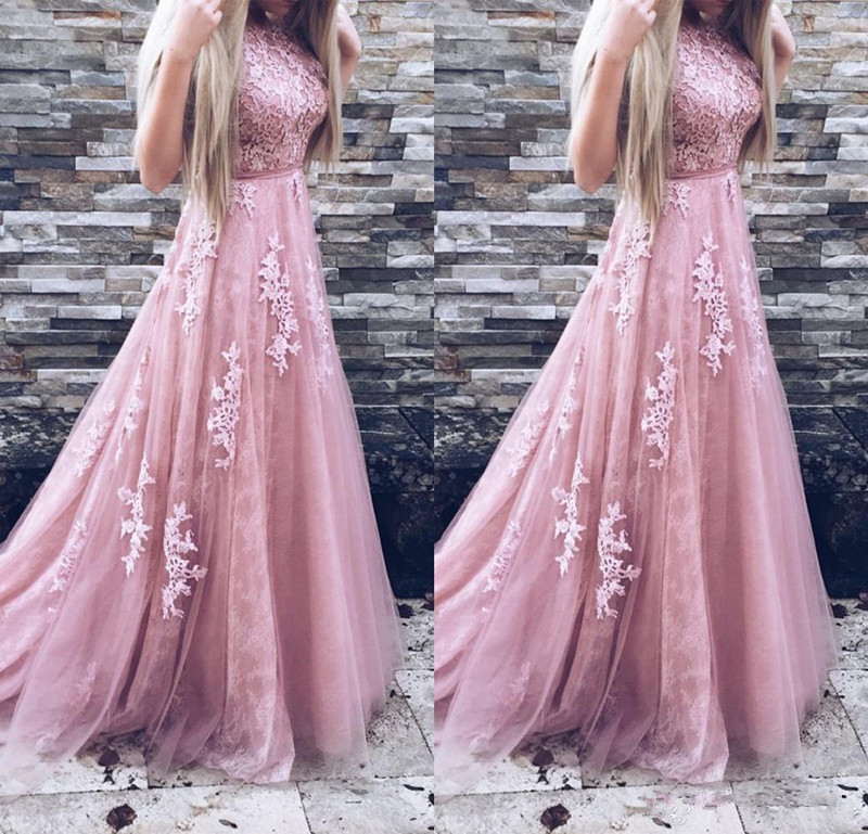 Pink Robe De Soiree 2019 A-line High Collar Tulle Appliques Lace Sexy Long Prom Dresses Prom Gown Evening Dresses