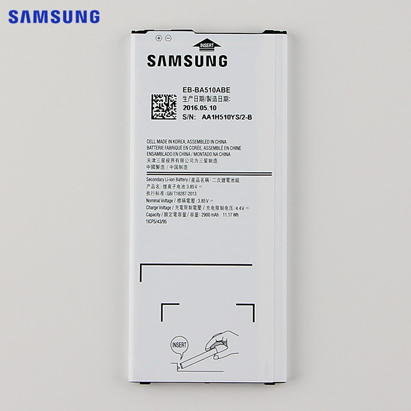 SAMSUNG Original Replacement Battery EB BA510ABE For Samsung GALAXY A510 2016 Version Authentic Phone Battery 2900mAh
