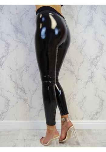 Женские леггинсы, блестящие леггинсы из искусственной кожи, черные тонкие длинные штаны, женские сексуальные обтягивающие леггинсы