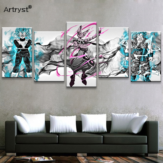 Artryst Hand-drawn Dragon Ball Super Goku Poster Hd Printed On Canvas 5 Piece Modular Wall Art Picture Room (Copy)
