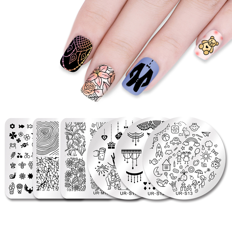 UR SUGAR Stamping Template Happy Father\'s Day Celebration Rose Lotus ...