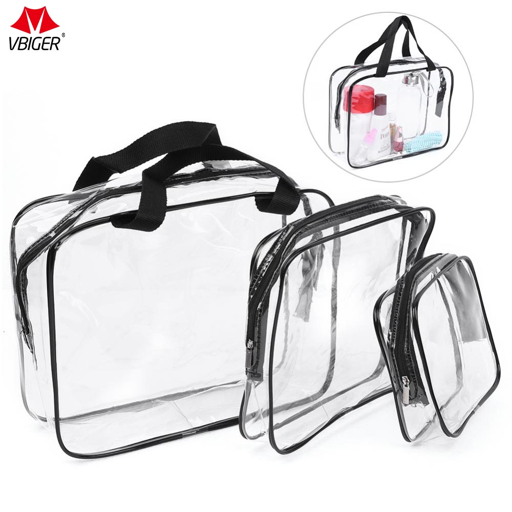 Vbiger 3 in 1 Clear PVC Cosmetic Bag Waterproof Makeup Bags Clear Toiletry Cases with Zipper Closure and Handle Straps, Set of 3 clear wood handle bag with sequin pouch