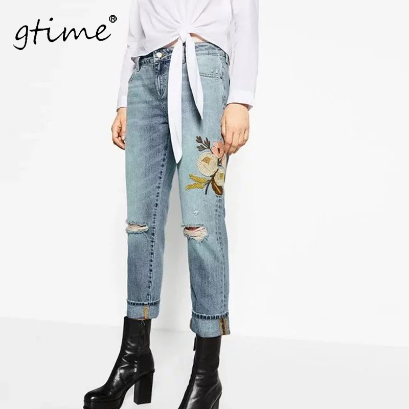 GTIME New Women fashion wind flowers embroidered jeans # ZKQA65