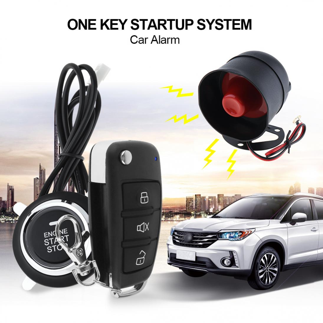 Universal Car Alarm System Remote Start Stop Engine System with Auto Central Lock and Keyless Entry easyguard car security alarm system with pke passive keyless entry remote lock remote engine start stop keyless go system dc12v