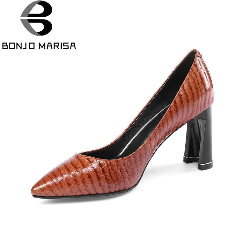BONJOMARISA 2018 Primavera Otoño Nueva Llegada de Calidad de Cuero - Zapatos de mujer - foto 1