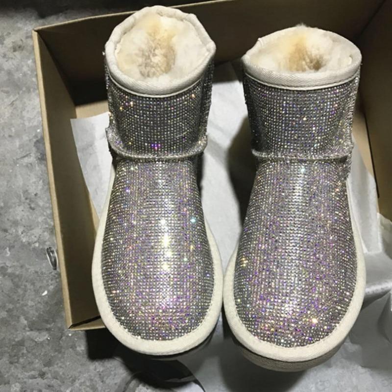 Bottes d'hiver en strass femmes chaussures chaudes bottines en peluche femmes avec plate forme de fourrure bottes de neige chaussures en peau de mouton australie-in Bottes de neige from Chaussures    1