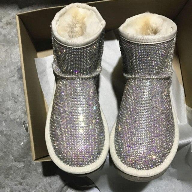 Rhinestone Kış çizmeler kadın ayakkabıları Sıcak Peluş yarım çizmeler Kadın Kürk Platformu Kar Botları Koyun Derisi Ayakkabı Ile Avustralya