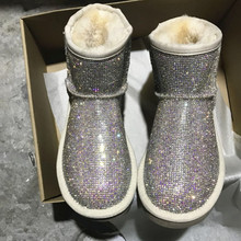 Rhinestone Winter Boots Women Shoes Warm Plush Ankle Boots Women With Fur Platform Snow Boots Sheep Skin Shoes Australia