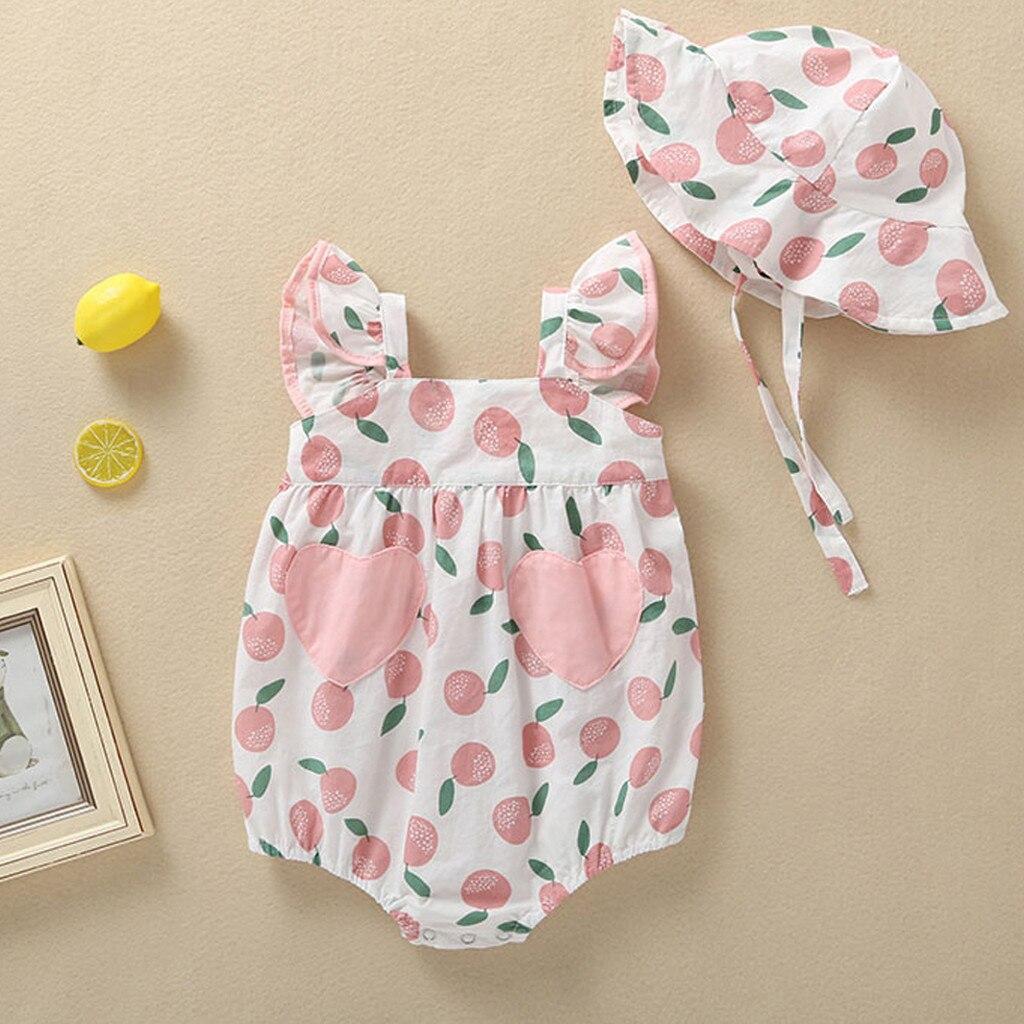 Summer Newborn Infant Baby Girl Hat Jumpsuit Romper Bodysuit Clothes Sunsuit Set