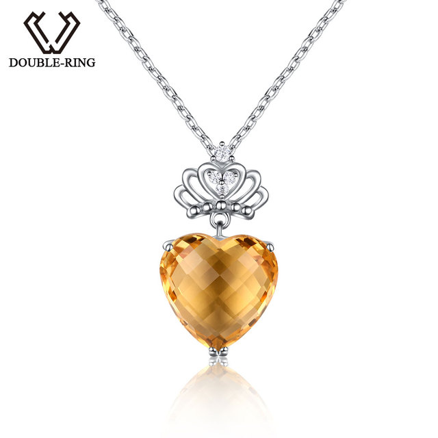 Double r 575ct genuine natural citrine heart pendant real solid 925 double r 575ct genuine natural citrine heart pendant real solid 925 sterling silver fine mozeypictures Image collections