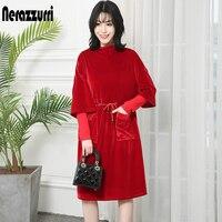 Nerazzurri Ladies velvet dress with pockets women drawstring elegant ribbed long sleeve black red plus size midi dress 5xl 6xl