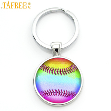 TAFREE trendy colorful Softball picture glass dome keychain wome nmen fashion charms car bag pendant key chain ring holder SP750