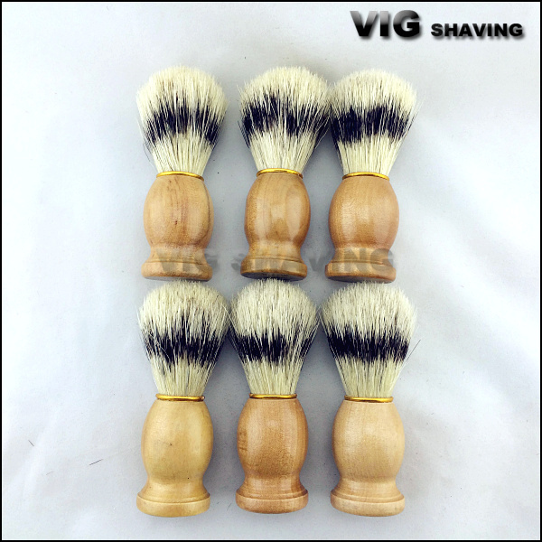 6pcs per lot Natural wood color boar bristle men shaving brush