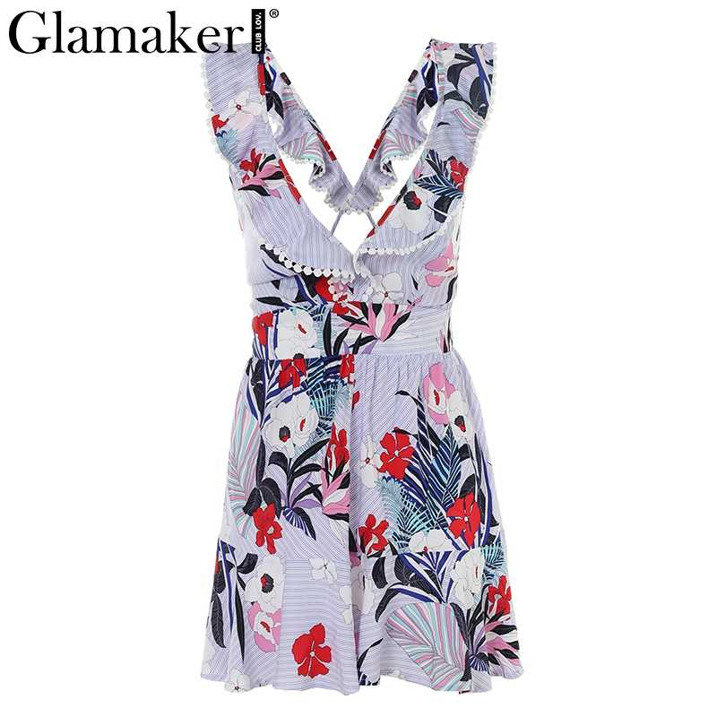 728f8781019 ... Glamaker Elegant ruffle flower print jumpsuit romper overalls Sexy V  neck lace up backless jumpuit Women ...