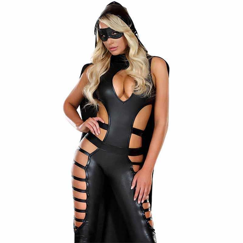 Die Darkside Berühmte Film Charakter Kostüm Schwarz Vinyl Leder Cut Out Catsuits Sexy Cosplay Halloween Kostüm Für Frauen