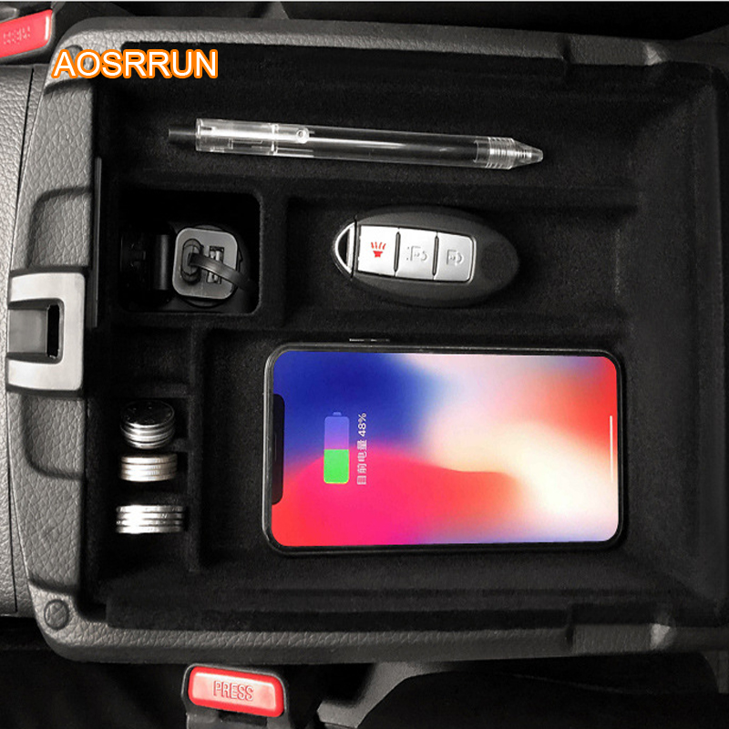 AOSRRUN Special On-board QI Wireless Phone Charging Panel Car Accessories COVER For Nissan X-Trail 2018 2019