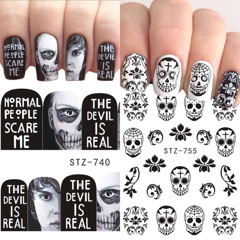 Image 2 - 24 шт ногтей переводная наклейка на ногти Хэллоуин Череп кости тату клоуна ползунки для аксессуары для ногтей JISTZ731 755 on AliExpress