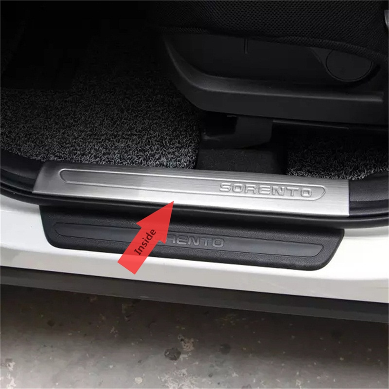цена на ABAIWAI Car Accessory For Kia Sorento Inside Interior Door Pedal Pad Guard Stainless Steel Auto Parts Modification Styling 2015