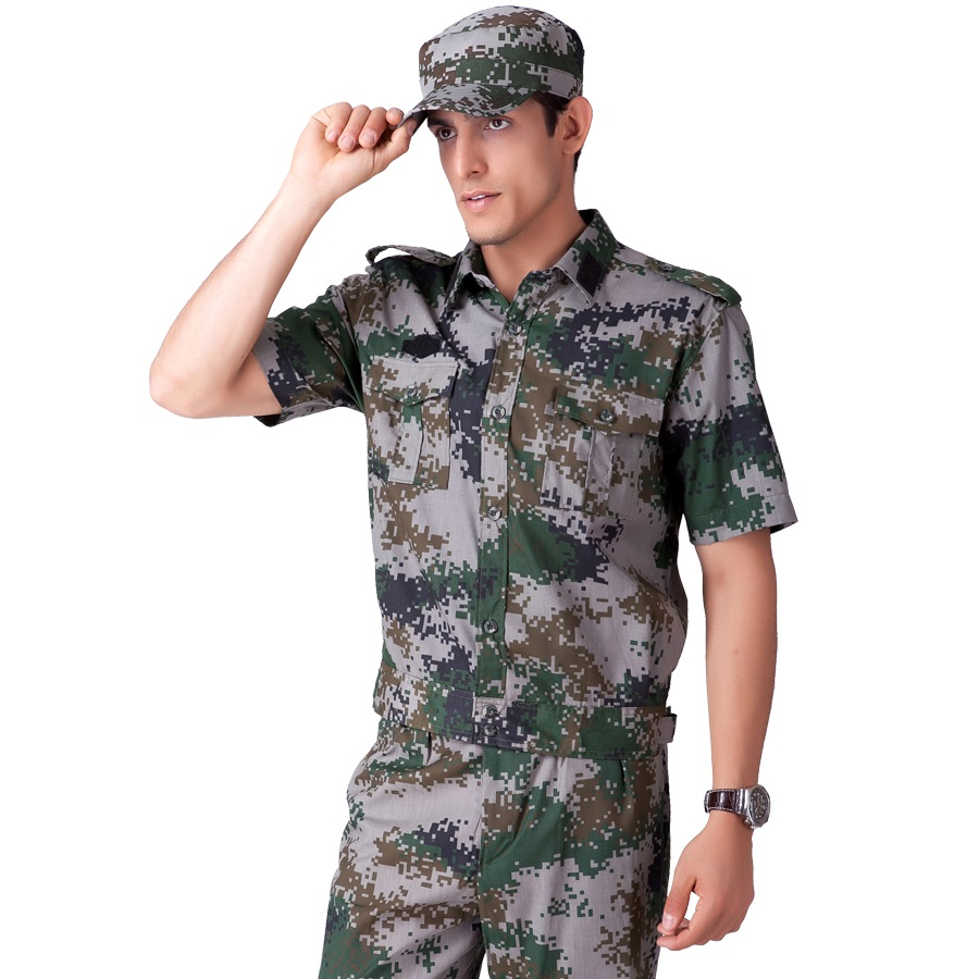 (10 Set/hat&top&pant)Short-sleeve Camouflage Set Male Military Service Summer Training Uniform Camouflage Outdoor Military
