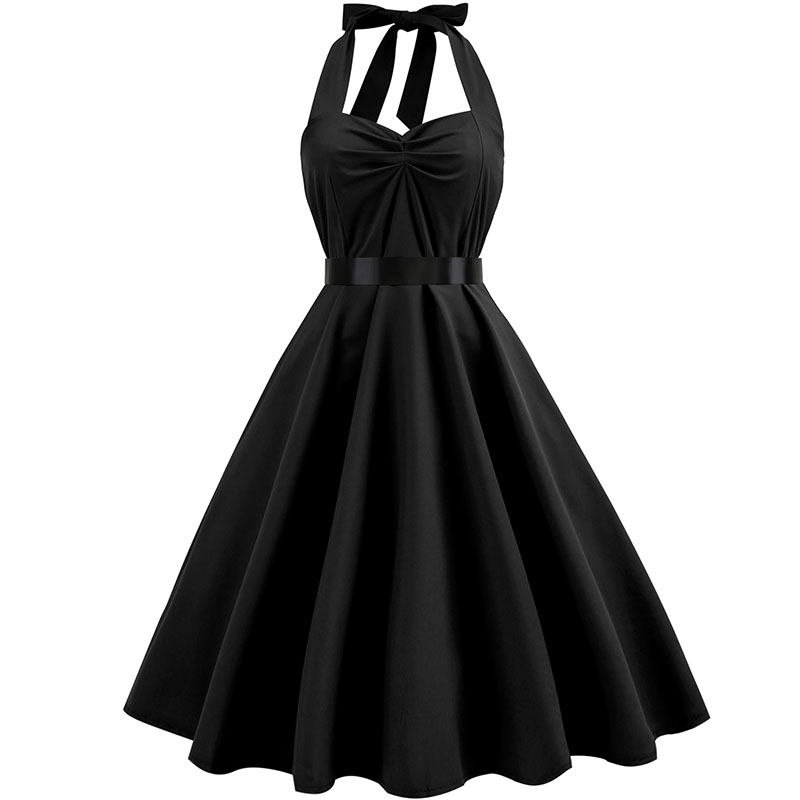 Sexy Halter Party Dress Retro Polka Dot Hepburn Vintage 50s 60s Pin Up Rockabilly Dresses Robe Plus Size Elegant Midi Dress 13