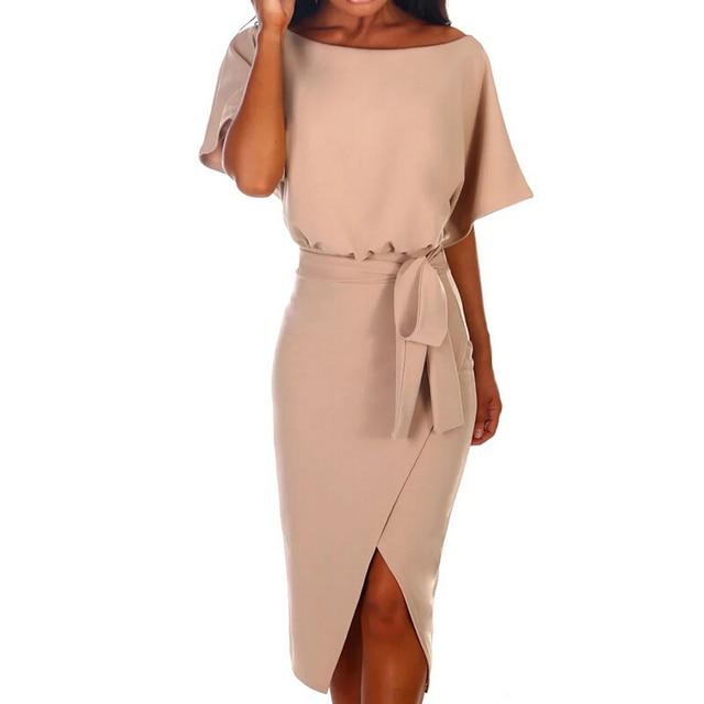 Hot 2019 Summer Dress Work Office Short Sleeve O-Neck Elegant Ladies Bodycon Bandage Belt Slim Party Dress Vestidos Plus Size 2