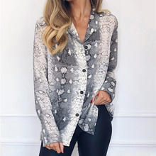 Summer Chiffon Blouse Snake Print Sexy V-neck Women Tops and Blouses Gray Brown Pink Long Sleeve Spring Shirts Plus Size 3XL Tee
