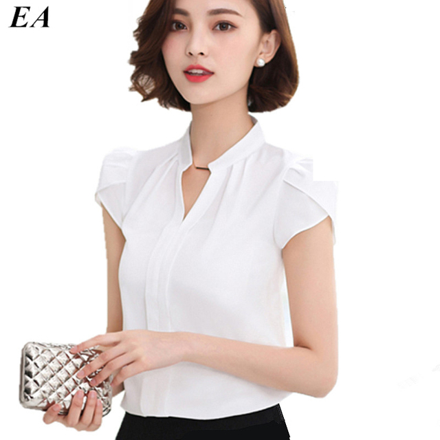 Moda Chiffon Branco Blusa Mulheres Camisas de Manga Curta v pescoço Camisa senhora Do Escritório Do Sexo Feminino 2016 Verão Novo Estilo DTDX002