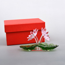 Crystal lotus Flower Figurine Ornament Paperweight Window Pendant birthday Part Wedding Decor Home Decoration Girlfriend gifts