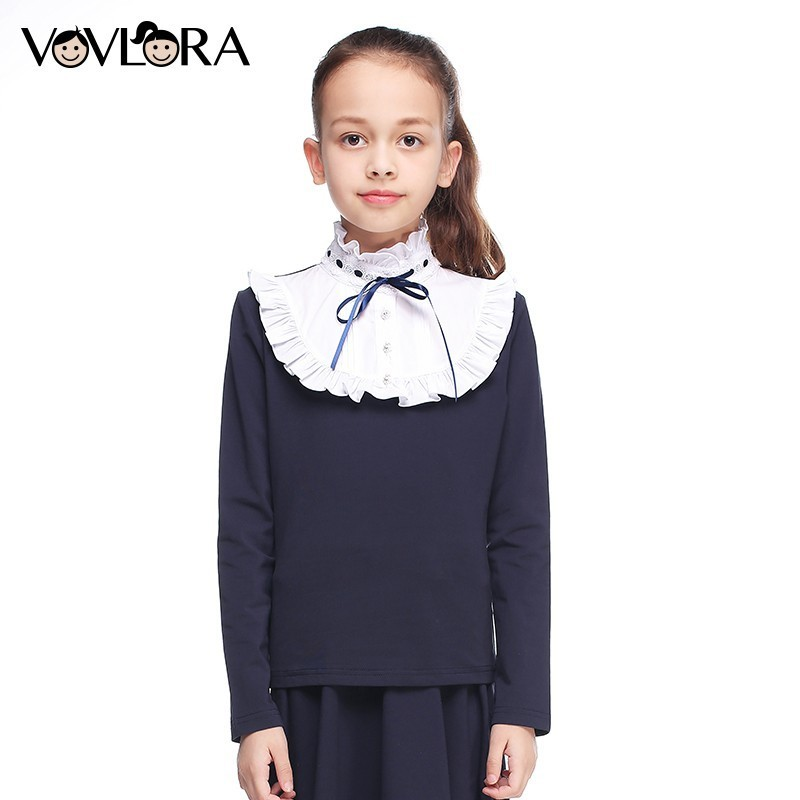 Girls T shirt Tops Long Sleeve Ruffle Turtleneck Cotton Kids School T-shirt Fashion Children Clothes Size 6 7 8 9 10 11 12 Year цена 2017