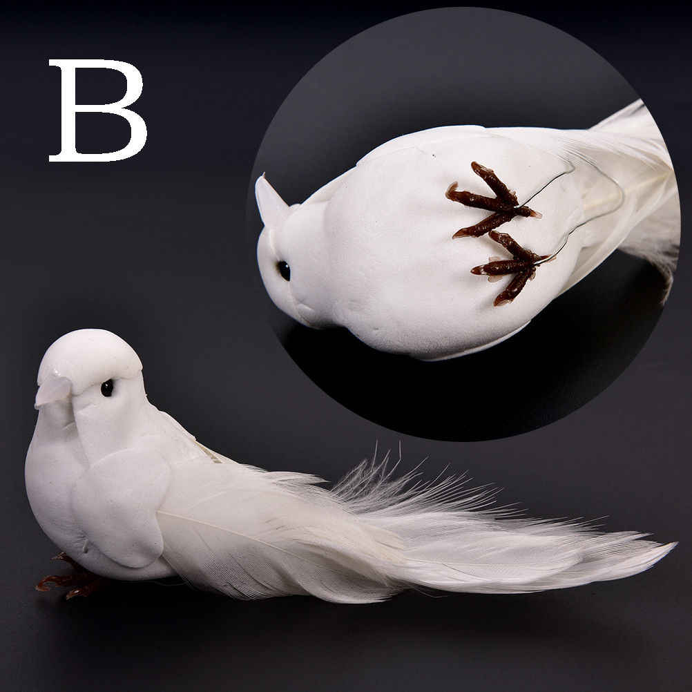 Artificial Foam Feather White Birds With Craft Birds Home Decor Wedding Decorations Adorable Decorative Doves approx. 12*5*5 CM