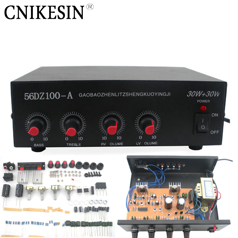 CNIKESIN DIY suite 220V Stereo audio power amplifier kit TDA2030 Power amplifier bulk, With the shell transformer sound good