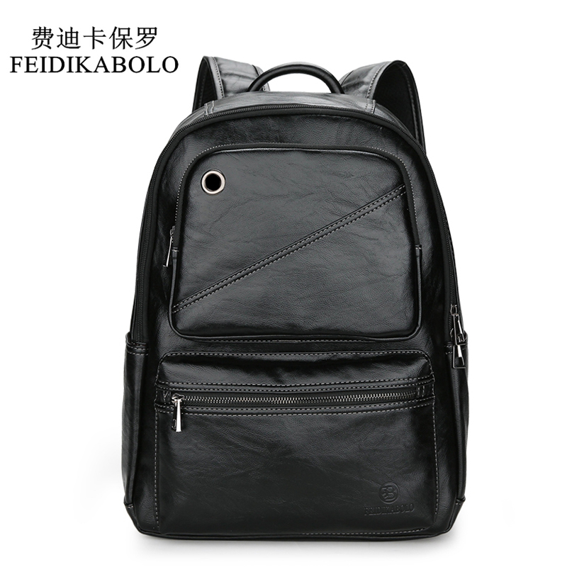 все цены на FEIDIKABOLO Brand Men Backpack Mens Leather Laptop Backpack For Teenager Fashion Male Mochila Leisure Travel Backpack School Bag онлайн